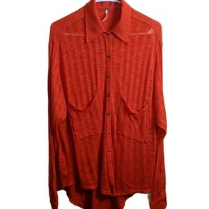 FREE PEOPLE oversized knit button down top